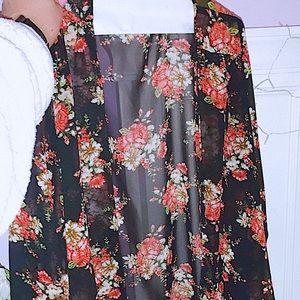 Beautiful Sheer Floral Kimono Style Cardigan